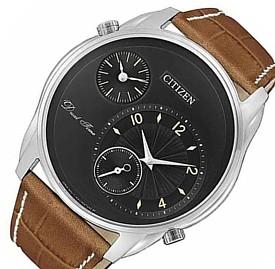 CITIZEN/Dual Time【シチズン/デュアルタイム】メンズ腕時計 ブラック文字盤 ブラウンレザーベルト AO3030-08E 海外モデル【並行輸入品】