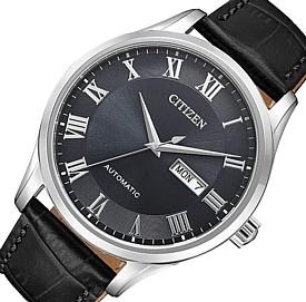 CITIZEN/Automatic【シチズン/オートマチック】自動巻 メンズ腕時計 ブラック文字盤 ブラックレザーベルト 海外モデル【並行輸入品】NH8360-12H