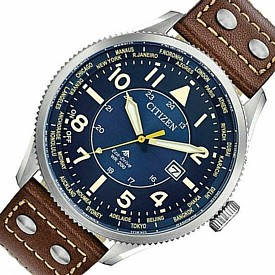 CITIZEN/PROMASTER【シチズン/プロマスター】メンズ ソーラー腕時計 ネイビー文字盤 ブラウンレザーベルト BX1010-11L 海外モデル【並行輸入品】