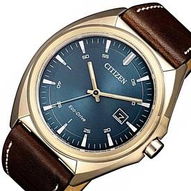 CITIZEN/Standard【シチズン/スタンダード】メンズ ソーラー腕時計 ゴールドケース グレー文字盤 ブラウンレザーベルト 海外モデル【並行輸入品】AW1573-11L