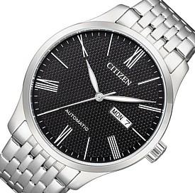 CITIZEN/Automatic【シチズン/オートマチック】自動巻 メンズ腕時計 ブラック文字盤 メタルベルト 海外モデル【並行輸入品】NH8350-59E