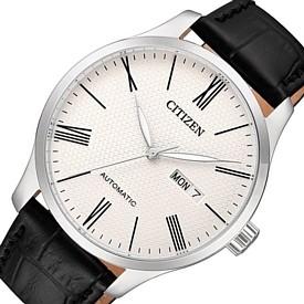 CITIZEN/Automatic【シチズン/オートマチック】自動巻 メンズ腕時計 ホワイト文字盤 ブラックレザーベルト 海外モデル【並行輸入品】NH8350-08A