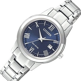 CITIZEN/Standard【シチズン/スタンダード】レディース ソーラー腕時計 ネイビー文字盤 メタルベルト 海外モデル【並行輸入品】FE1081-59L