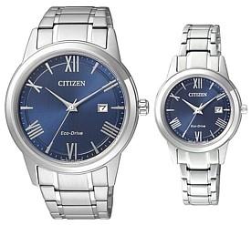 CITIZEN/エコドライブ【シチズン】ペアウォッチ ソーラー腕時計 ネイビー文字盤 メタルベルト 海外モデル【並行輸入品】AW1231-58L/FE1081-59L