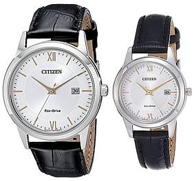 CITIZEN/Standard【シチズン/スタンダード】ペアウォッチ ソーラー腕時計 シルバー/ゴールド文字盤 ブラックレザーベルト 海外モデル【並行輸入品】AW1236-11A/FE1086-12A