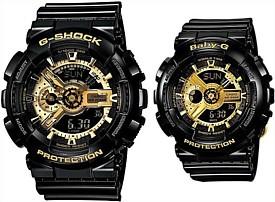 CASIO/G-SHOCK/Baby-G【カシオ/Gショック/ベビーG】Black Gold Series/ペアウォッチ アナデジ 腕時計 海外モデル【並行輸入品】 GA-110GB-1A/BA-110-1A