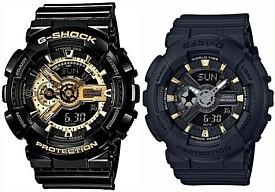 CASIO/G-SHOCK/Baby-G【カシオ/Gショック/ベビーG】ペアウォッチ アナデジ 腕時計 ブラック/ゴールド(国内正規品)GA-110GB-1AJF/BA-110GA-1AJF