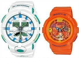 CASIO/G-SHOCK/Baby-G【カシオ/Gショック/ベビーG】ペアウォッチ アナデジ 腕時計 ホワイト/オレンジ(国内正規品)GA-500WG-7AJF/BGA-190-4BJF
