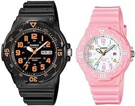 CASIO Standard カシオ スタンダード アナログクォーツ ペアウォッチ 腕時計 ラバーベルト ブラック ピンク 海外モデル 並行輸入品 MRW 200H 4B LRW 200H 4B2Pw80nOkX