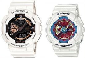 CASIO/G-SHOCK/Baby-G【カシオ/Gショック/ベビーG】ペアウォッチ アナデジ 腕時計 ホワイト 海外モデル【並行輸入品】 GA-110RG-7A/BA-112-7A