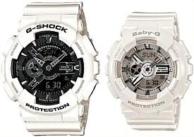 CASIO/G-SHOCK/Baby-G【カシオ/Gショック/ベビーG】ペアウォッチ アナデジ 腕時計 ホワイト 海外モデル【並行輸入品】 GA-110GW-7A/BA-110-7A3