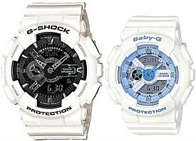 CASIO/G-SHOCK/Baby-G【カシオ/Gショック/ベビーG】ペアウォッチ アナデジ 腕時計 ホワイト 海外モデル【並行輸入品】GA-110GW-7A/BA-110BE-7A