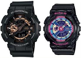 CASIO/G-SHOCK/Baby-G【カシオ/Gショック/ベビーG】ペアウォッチ アナデジ 腕時計 ブラック 海外モデル【並行輸入品】 GA-110RG-1A/BA-112-1A
