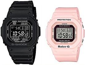 CASIO/G-SHOCK/Baby-G【カシオ/Gショック/ベビーG】ペアウォッチ ソーラー電波腕時計 ブラック/ライトピンク(国内正規品)GW-M5610-1BJF/BGD-5000-4BJF