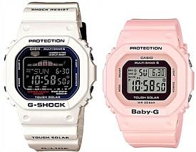 CASIO/G-SHOCK/Baby-G【カシオ/Gショック/ベビーG】ペアウォッチ ソーラー電波腕時計 ホワイト/ライトピンク GWX-5600C-7JF/BGD-5000-4BJF(国内正規品)
