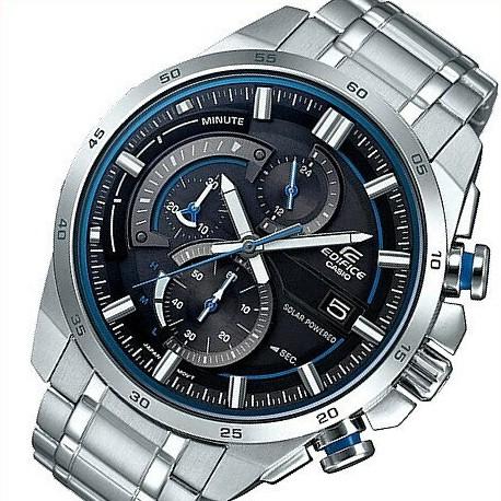 CASIO/EDIFICE【カシオ/エディフィス】ソーラー腕時計 クロノグラフ メンズ ブラック/ブルー文字盤 メタルベルト 海外モデル【並行輸入品】EQS-600D-1A2