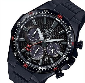 CASIO/EDIFICE【カシオ/エディフィス】ソーラー腕時計 クロノグラフ メンズ ブラック(カーボンファイバー)文字盤 ブラックラバーベルト 海外モデル【並行輸入品】 EQS-800CPB-1AV