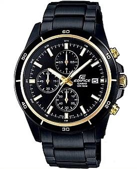 CASIO/EDIFICE【カシオ/エディフィス】クロノグラフ メンズ腕時計 ブラック/ゴールド文字盤 ブラックメタルベルト 海外モデル【並行輸入品】 EFR-526BK-1A9VU