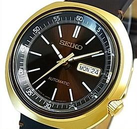 SEIKO/Automatic【セイコー/オートマチック】自動巻 メンズ腕時計 ゴールドケース ブラウンレザーベルト ブラウン文字盤 MADE IN JAPAN海外モデル【並行輸入品】 SRPC16J1