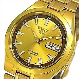 SEIKO/SEIKO5【セイコー5/セイコーファイブ】自動巻 メンズ腕時計 ゴールドメタルベルト ゴールド/ブラウン文字盤 SNKG26J1 MADE IN JAPAN 海外モデル【並行輸入品】
