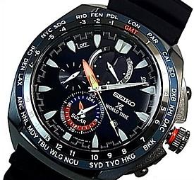 SEIKO/PROSPEX【セイコー/プロスペックス】メンズ ワールドタイム クロノグラフ ソーラー腕時計 ブラックケース ネイビー文字盤 ブラックラバーベルト 海外モデル【並行輸入品】 SSC551P1