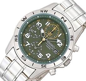 SEIKO/Chronograph【セイコー/クロノグラフ】ミリタリー メンズ腕時計 メタルベルト モスグリーン文字盤 SND377P 海外モデル【並行輸入品】