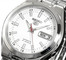 SEIKO/SEIKO5【セイコー5/セイコーファイブ】自動巻 メンズ腕時計 メタルベルト ホワイト文字盤 SNKG17J1 MADE IN JAPAN 海外モデル【並行輸入品】
