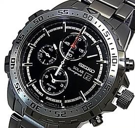 SEIKO/Alarm Chronograph【セイコー/アラームクロノグラフ】メンズ ソーラー腕時計 ガンメタメタルベルト ブラック文字盤 SSC301P1 海外モデル【並行輸入品】