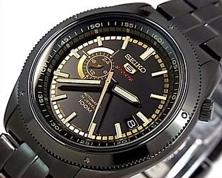 SEIKO/SEIKO5 Sports【セイコー5スポーツ/ファイブスポーツ】自動巻 メンズ腕時計 MADE IN JAPAN ブラックメタルベルト ブラック/ゴールド文字盤 SSA071J1 海外モデル【並行輸入品】