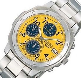 SEIKO/Chronograph【セイコー/クロノグラフ】メンズ腕時計 イエロー/ブルー文字盤 メタルベルト SND409 海外モデル【並行輸入品】