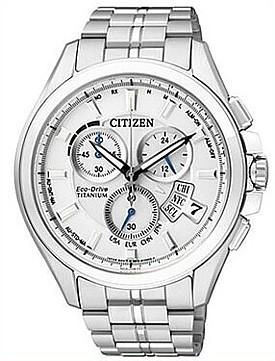 CITIZEN【シチズン】メンズ ソーラー電波腕時計 クロノグラフ チタン ホワイト文字盤 メタルベルト BY0051-55A MADE IN JAPAN 海外モデル【並行輸入品】