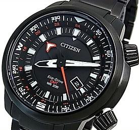 CITIZEN/PROMASTER【シチズン/プロマスター】メンズ腕時計 エコドライブ GMT 200M防水ダイバーズ ブラックケース ブラック文字盤 ブラックメタルベルト MADE IN JAPAN 海外モデル【並行輸入品】BJ7086-57E