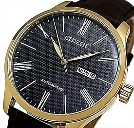CITIZEN/Automatic【シチズン/オートマチック】自動巻 メンズ腕時計 ゴールドケース グレー文字盤 ダークブラウンレザーベルト 海外モデル【並行輸入品】NH8353-00H