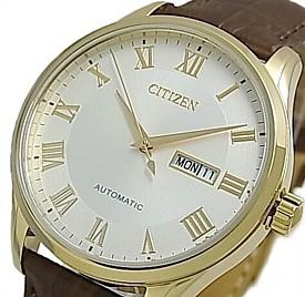 CITIZEN/Automatic【シチズン/オートマチック】自動巻 メンズ腕時計 ゴールドケース シルバー文字盤 ブラウンレザーベルト 海外モデル【並行輸入品】NH8363-14A