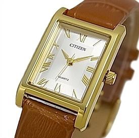 CITIZEN/Standard【シチズン/スタンダード】レディース腕時計 レクタンゴー ゴールドケース シルバー文字盤 ブラウンレザーベルト 海外モデル【並行輸入品】EJ6122-08A