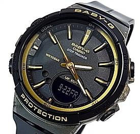 CASIO/Baby-G【カシオ/ベビーG】ステップトラッカー 歩数カウント機能搭載 レディース腕時計 ブラック/ゴールド 海外モデル【並行輸入品】BGS-100GS-1A