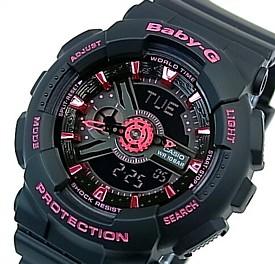 CASIO/Baby-G【カシオ/ベビーG】レディース腕時計 ブラック/ピンク 海外モデル【並行輸入品】 BA-111-1A