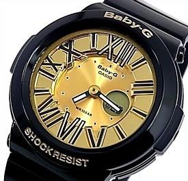 CASIO/Baby-G【カシオ/ベビーG】ネオンダイアルシリーズ レディース腕時計 ブラック/ゴールド BGA-160-1B 海外モデル【並行輸入品】