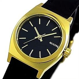 NIXON【ニクソン】SMALL TIME TELLER LEATHER/スモールタイムテラーレザー レディース腕時計 ブラック/ゴールド【2015年SPRING新作】【送料無料】A509-010(国内正規品)