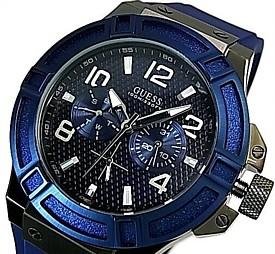 GUESS/RIGOR【ゲス/リガー】メンズ腕時計 マルチファンクション ブラックケース ネイビー文字盤 ネイビーラバーベルト【送料無料】W0248G5(国内正規品)