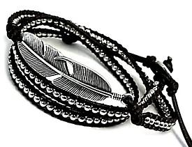 NICOLE/Silver accessory【ニコル/シルバーアクセ】フェザープレート 三連ブレスレット ブラウンレザー【送料無料】NC-LS237BR(国内正規品)