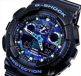 CASIO/G-SHOCK【カシオ/Gショック】アナデジ メンズ腕時計 ブルーカモフラージュ/ブラック 海外モデル【並行輸入品】 GA-100CB-1A