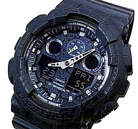CASIO/G-SHOCK【カシオ/Gショック】Cracked Pattern/クラックド・パターン アナデジモデル メンズ腕時計 ネイビー(国内正規品)GA-100CG-2AJF
