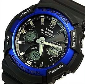 CASIO/G-SHOCK【カシオ/Gショック】ネオンアクセントカラー ソーラー電波腕時計 アナデジモデル ブラック/ブルー(国内正規品)GAW-100B-1A2JF