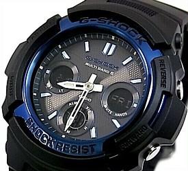 CASIO/G-SHOCK【カシオ/Gショック】ソーラー電波腕時計 アナデジモデル ブラック×ブルー 海外モデル【並行輸入品】 AWG-M100A-1A