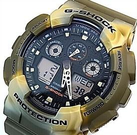 CASIO/G-SHOCK【カシオ/Gショック】アナデジ メンズ腕時計 ブラウンマーブルパターンカモフラージュ/ブラック(国内正規品)GA-100MM-5AJF
