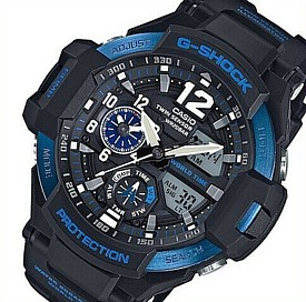 CASIO/G-SHOCK【カシオ/Gショック】GRAVITYMASTER/グラビティマスター メンズ腕時計 ツインセンサー搭載 ブラック/ブルー 海外モデル【並行輸入品】GA-1100-2B