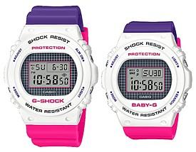 CASIO/G-SHOCK/Baby-G【カシオ/Gショック/ベビーG】ペアウォッチ 腕時計 パープル・ピンク・ホワイト(国内正規品)DW-5700THB-7JF/BGD-570THB-7JF