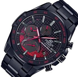 CASIO/EDIFICE【カシオ/エディフィス】ソーラー クロノグラフ モバイルリンク メンズ腕時計 ホンダレーシングコラボ ブラックメタルベルト 海外モデル【並行輸入品】 EQB-1000HR-1A