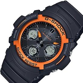 CASIO/G-SHOCK【カシオ/Gショック】ソーラー電波腕時計 アナデジモデル マルチバンド6 ブラック/オレンジ(国内正規品)AWG-M100SF-1H4JR